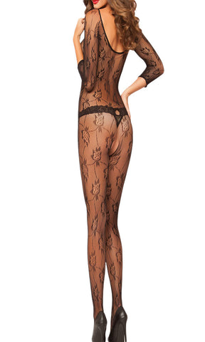 made2envy  Floral Fishnet Crotchless Bodystocking