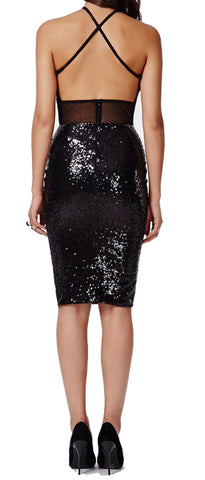 made2envy Open Back Knee Length Bodycon Sequin Dress