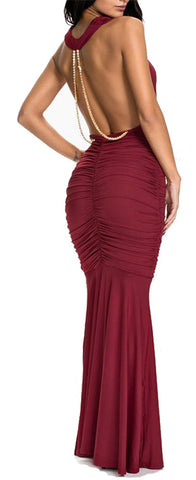 made2envy Evening Draped Dress with Open Back and Chain Decoration