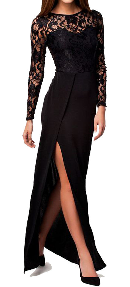 made2envy  Lace Top High Slit Long Sleeves Maxi Dress