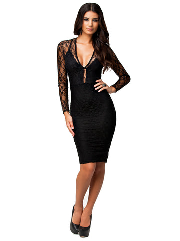 made2envy Allover Lace Long Sleeves Deep V Neck Open Back Dress