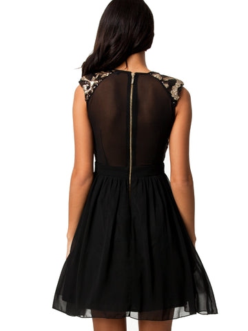 made2envy Mesh Sequin Chiffon Skater Dress