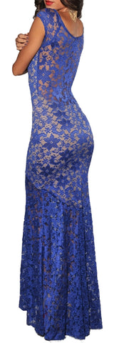 made2envy Lace Overlay See Through Back Long Evening Dress