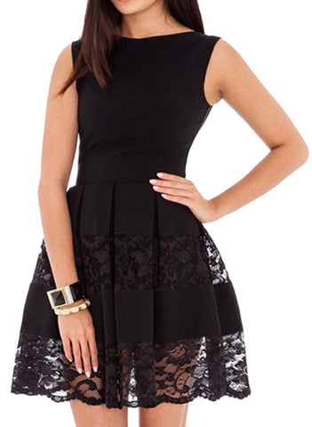 ee68f32a89333 made2envy Lace Accents Sleeveless Skater Dress
