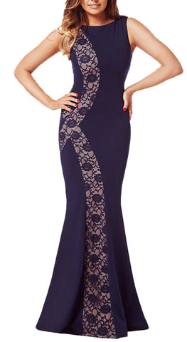made2envy  Colorblock or Lace Decor Mermaid Long Evening Dress