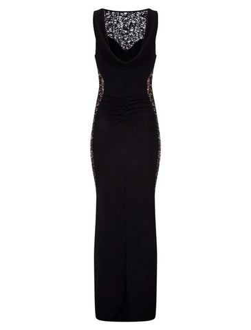 made2envy Sequin Lace Trim Maxi Dress