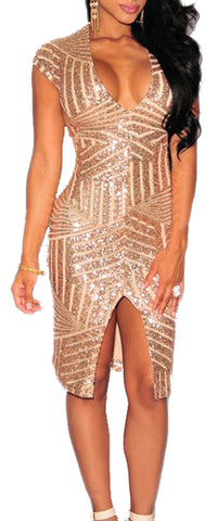 made2envy Gold Sequin V Neck Short Sleeves Front Slit Dress
