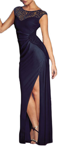 made2envy Lace Sequin Daring High Slit Maxi Gown
