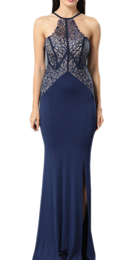made2envy Halter Lace Top Maxi Gown With Side Slit