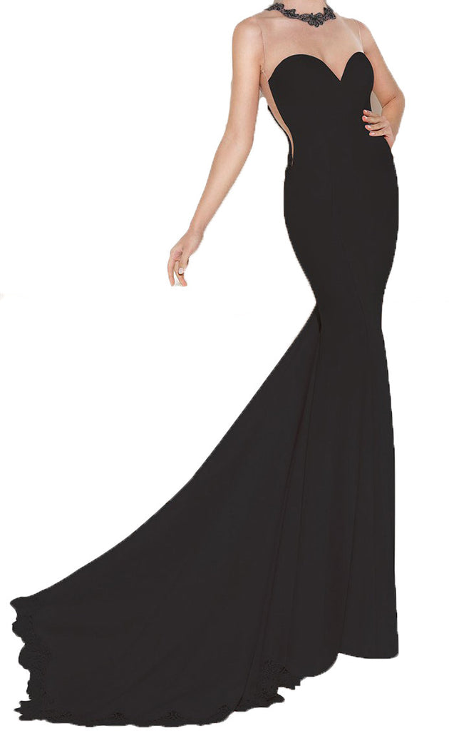 made2envy Transparent Mesh Lace Accents Evening Gown