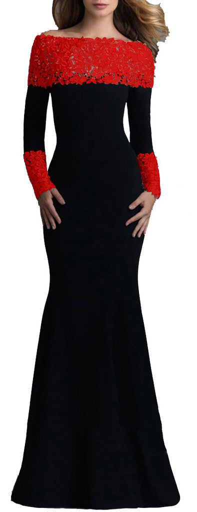 made2envy Boat Neck Mermaid Long Sleeves Lace Decorated Evening Gown