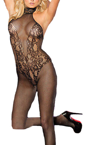 made2envy Lace and Fishnet Turtleneck Chocker Bodystocking