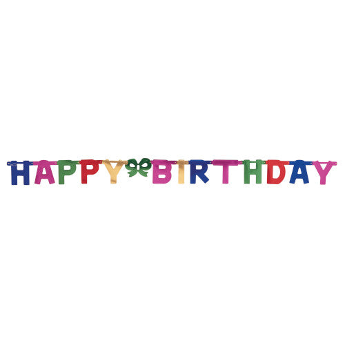 Happy Birthday Banner With Green Bow