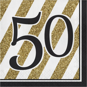 "Lunch Napkins ""50"" - Black and Gold 16ct"