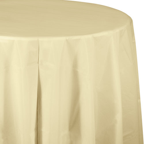 Round Plastic Table Cover - Ivory