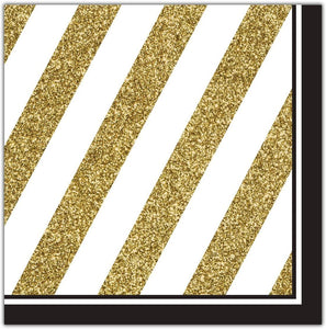 Lunch Napkins - Black and Gold 16ct
