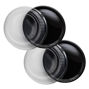 "16"" Black Trays With Dome Lids - 12 Sets"