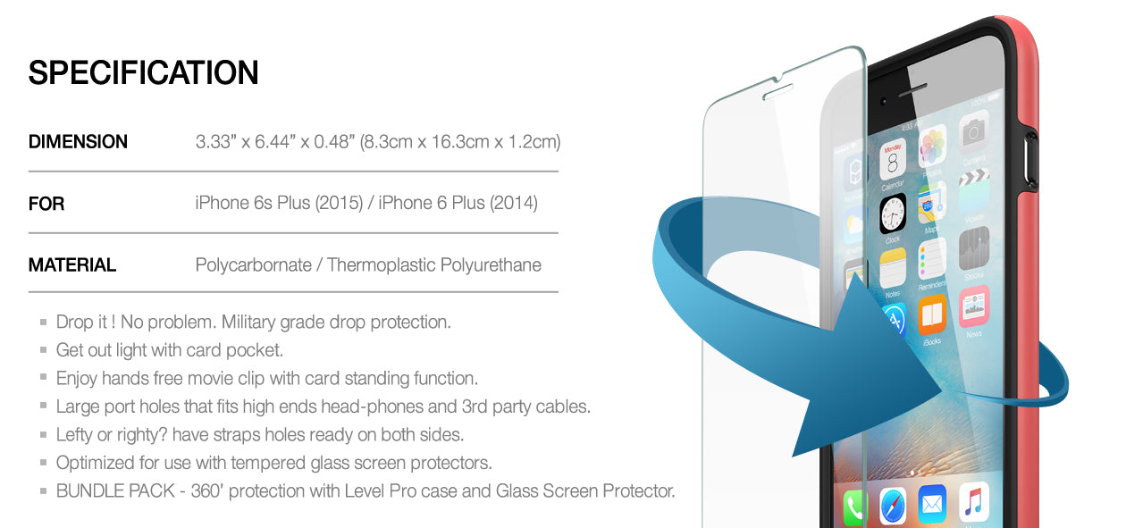 Patchworks ITG Level Pro with tempered glass screen protector iPhone 6s Plus iPhone 6 Plus protection case bundle set