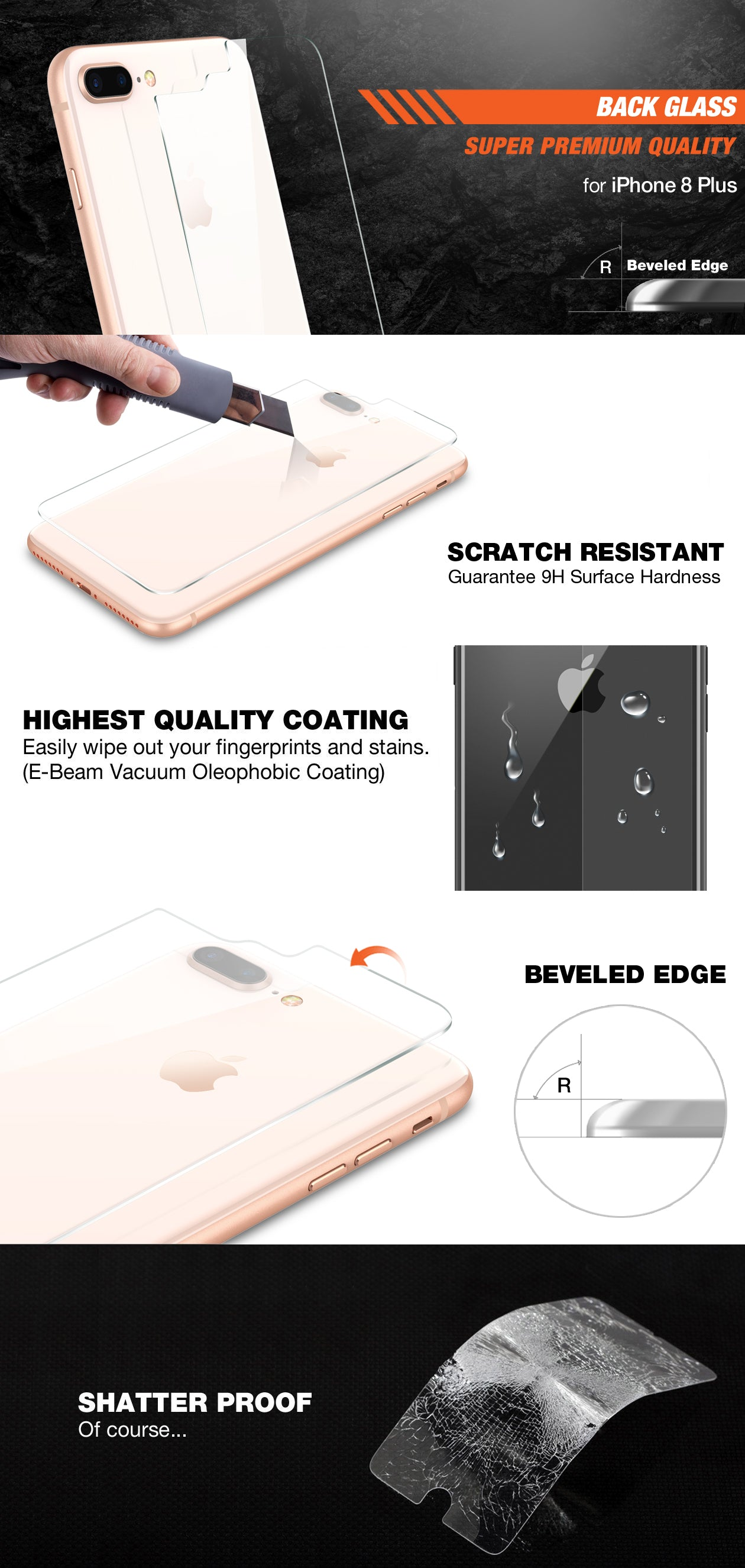 Patchworks ITG Back Glass for iPhone 8