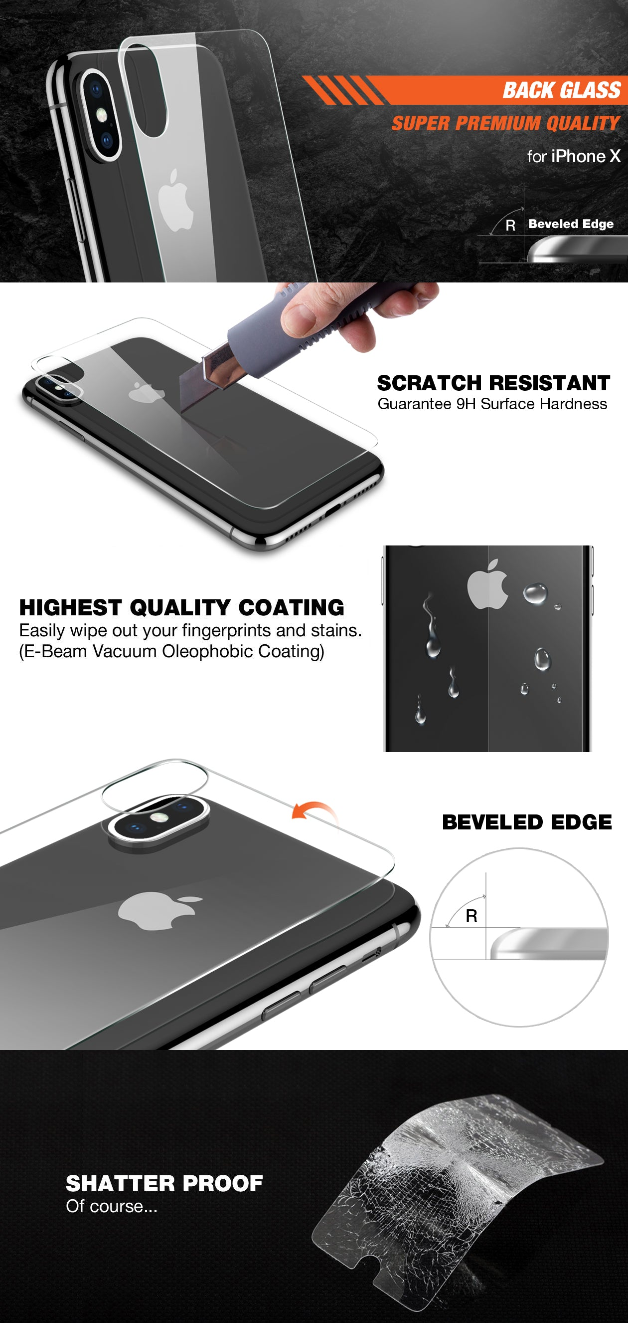 Patchworks ITG Back Glass for iPhone X