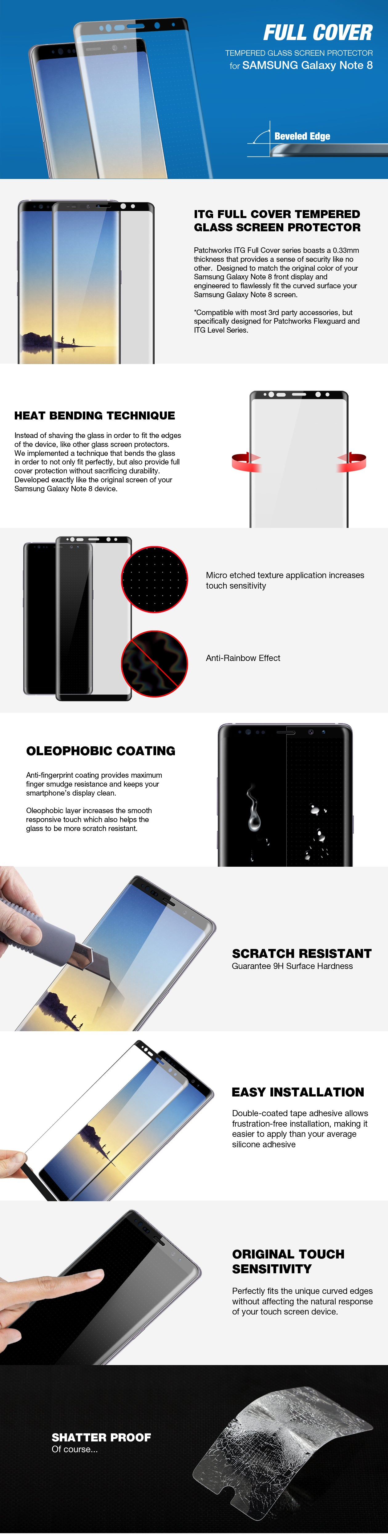 Patchworks Full Cover glass screen protector for Galaxy Note 8