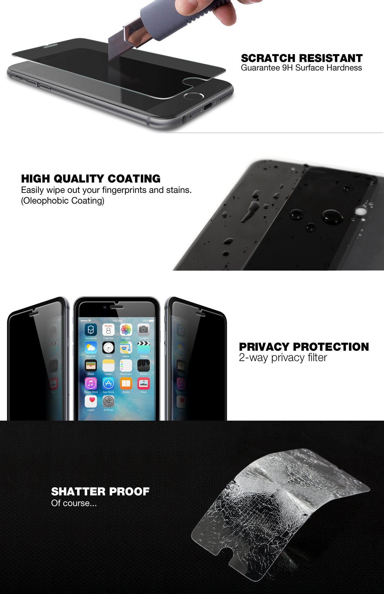 Patchworks ITG Privacy Tempered Glass Protector for iPhone 6s and 6