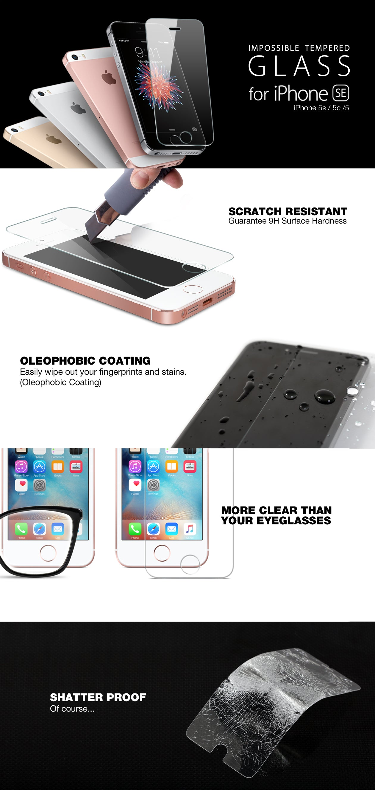 IPHONE ES iPhone 5s iPhone 5c iPhone 5 GLASS SCREEN PROTECTOR ITG ESSENTIAL