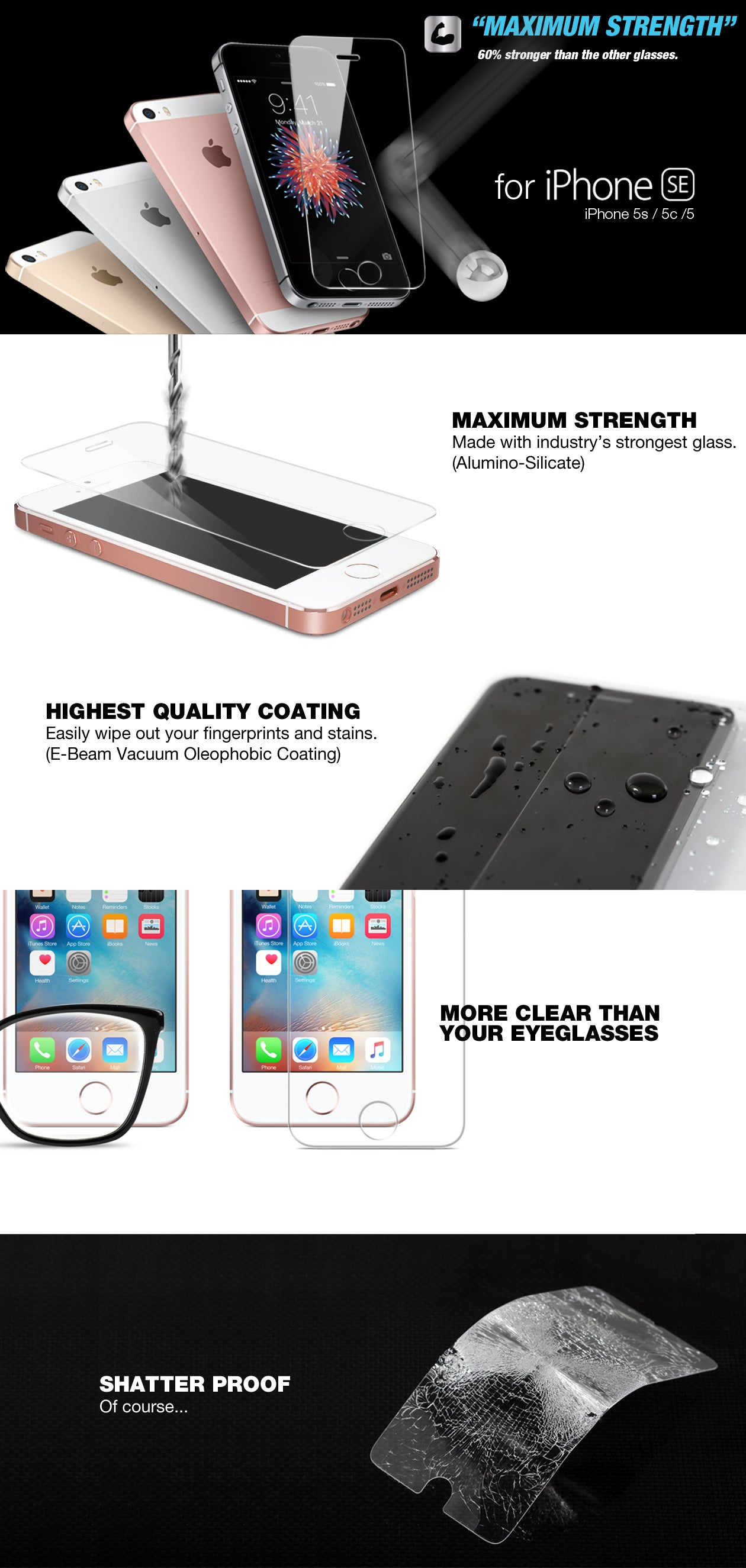 iPHONE SE / iPhone 5s / 5 / 5c GLASS SCREEN PROTECTOR ITG