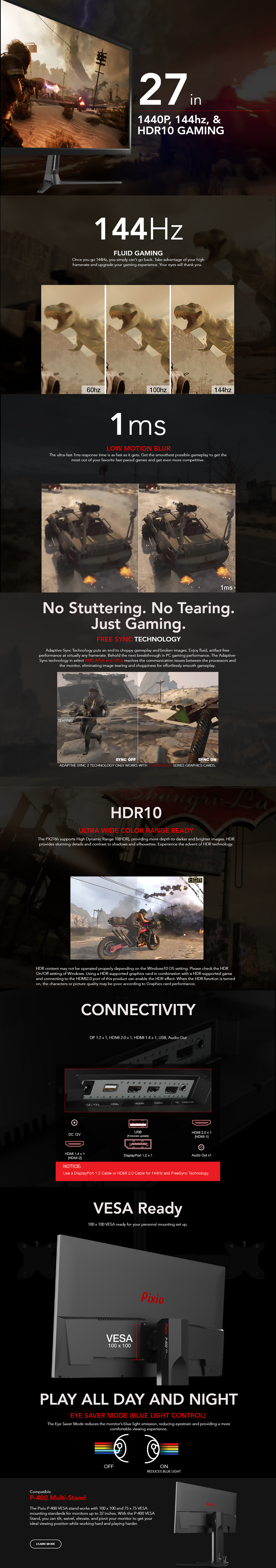 Details about 27 inch Gaming Monitor Pixio PX276h 144Hz HDR WQHD 2560 x  1440 1ms FreeSync