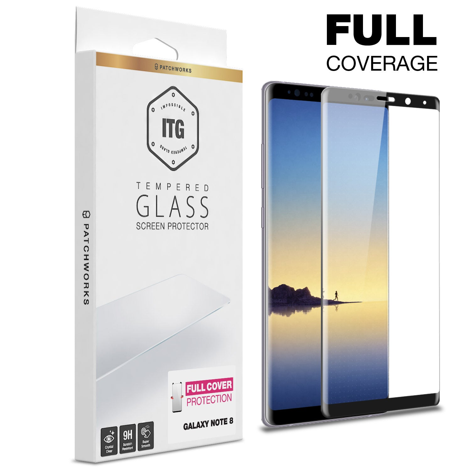 GALAXY NOTE 8 GLASS SCREEN PROTECTOR - ITG FULL COVER