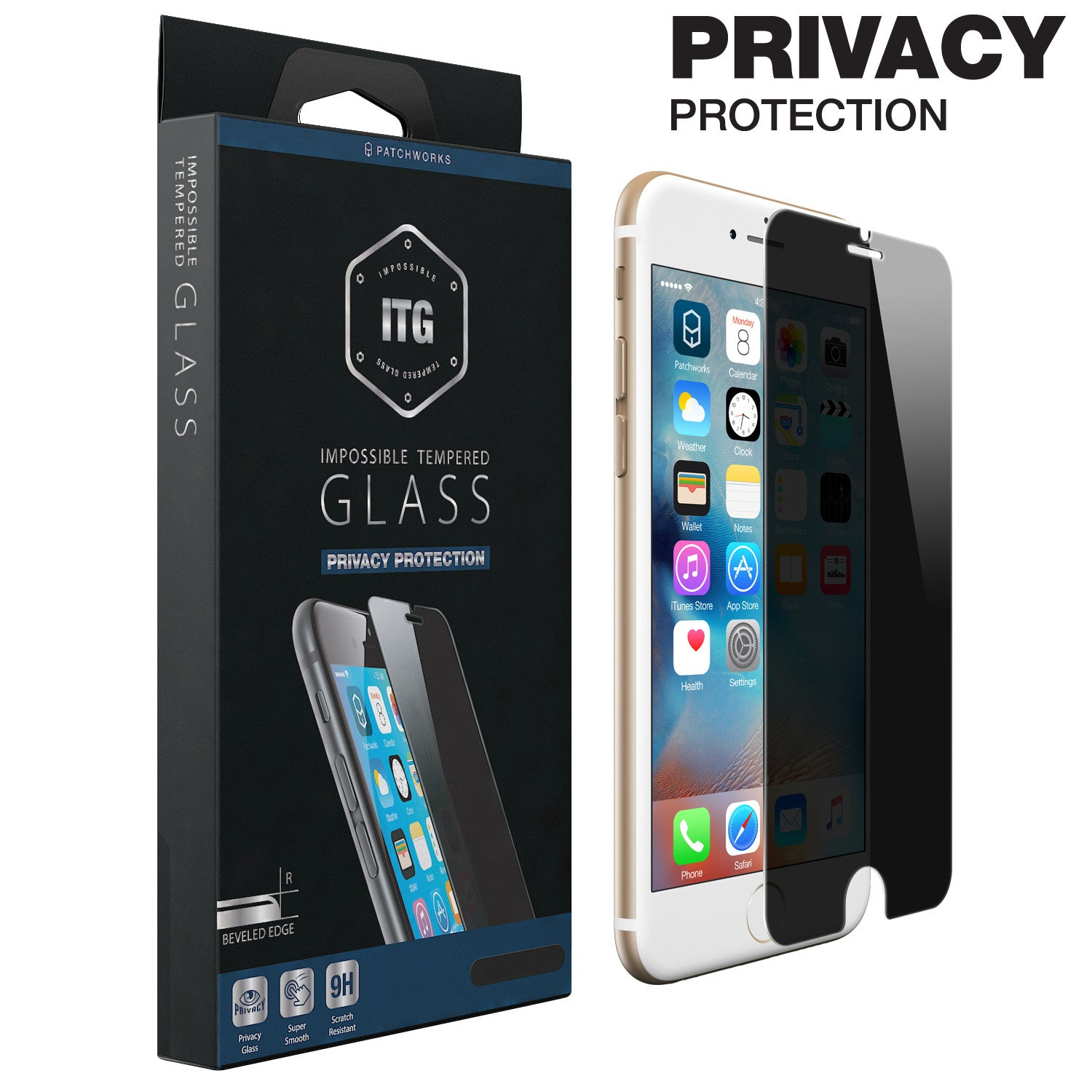 iPhone 6s Plus / 6 Plus Glass Screen Protector ITG PRIVACY - Patchworks Global Inc  - 1