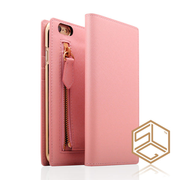 IPhone 6s / 6 Zipper Calf Skin Leather case SLG D5 - Patchworks Global Inc - 1