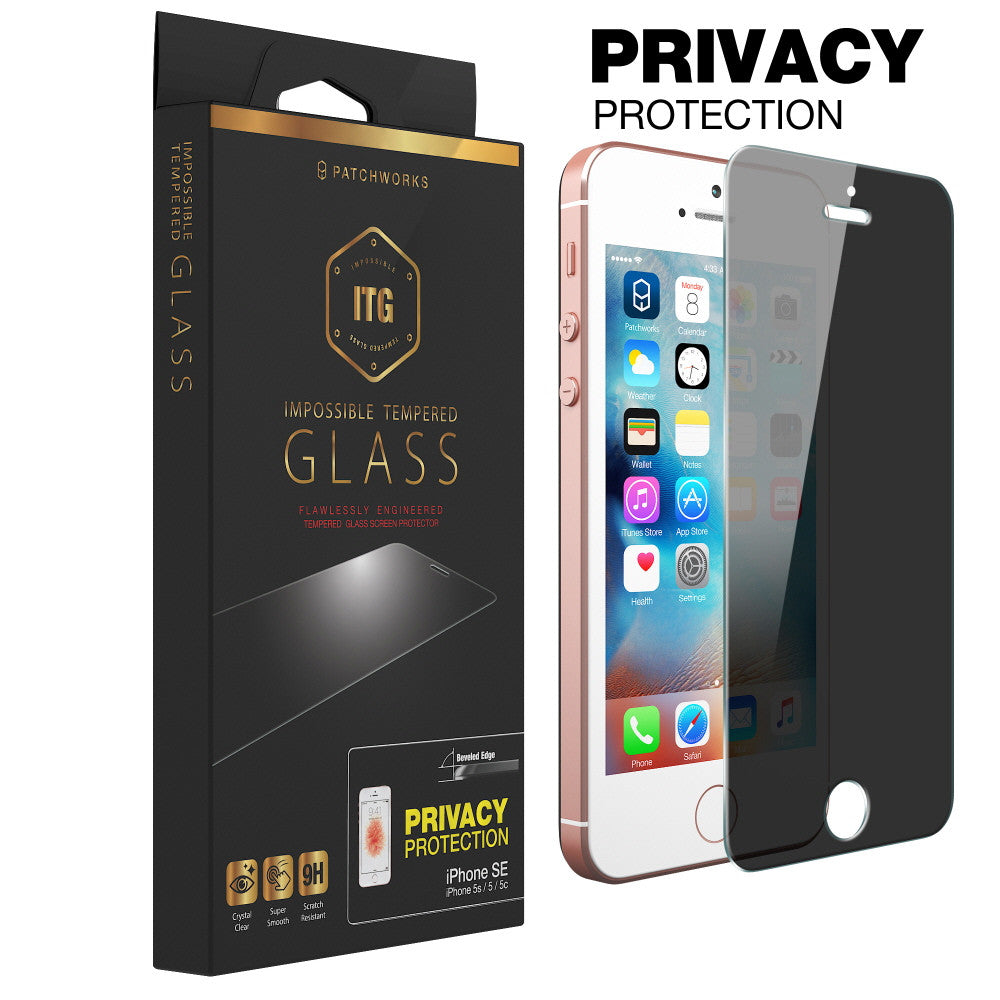 IPHONE SE / IPHONE 5S / 5 / 5C GLASS SCREEN PROTECTOR ITG PRIVACY - Patchworks Global Inc - 1