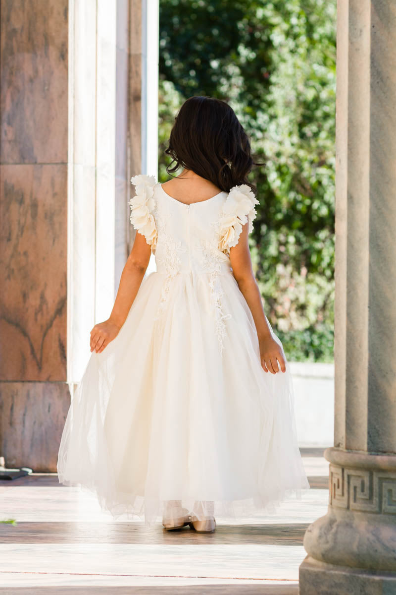 84405771432 Ariana Ivory Petal Sleeve Satin   Lace Dress Gown