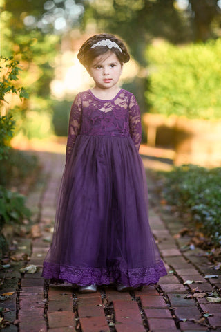 Isabelle Dark Purple Long Sleeve Open Back Bow Tulle Skirt Lace Gown Dress