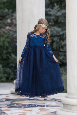 Isabelle Navy Blue Long Sleeve Open Back Bow Tulle Skirt Lace Gown Dress