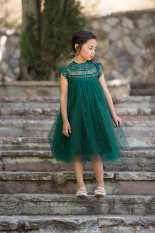 Magnolia Green Holiday Plaid Ruffle & Tulle Smock Dress