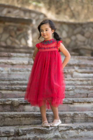 Magnolia Red Holiday Plaid Ruffle & Tulle Smock Dress