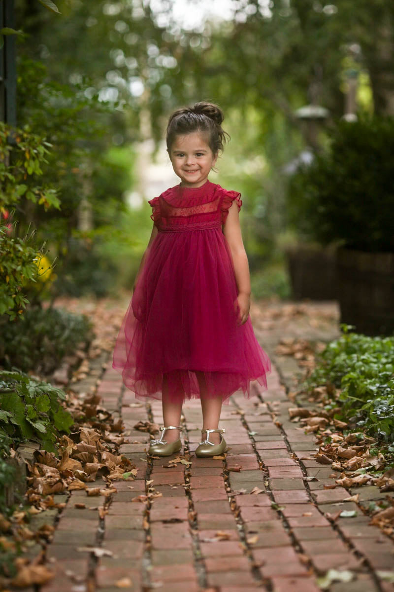 Magnolia Sangria Ruffle & Tulle Smock Dress - Just Couture