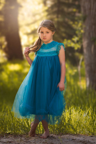 Magnolia Teal Blue Ruffle & Tulle Smock Dress