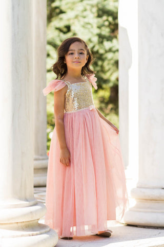 Skylar Sparkle Gown Dress Angel Sleeve Vintage Pink & Gold Sequin