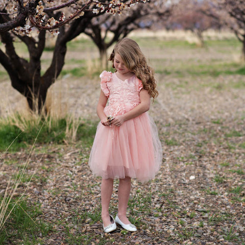 Ariana Ultra Light Pink Petal Sleeve Knee/Tea Length Dress