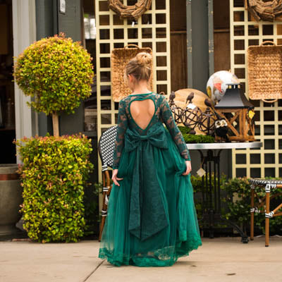 Emerald Green Isabella Heart Shape Big Bow Dress Gown
