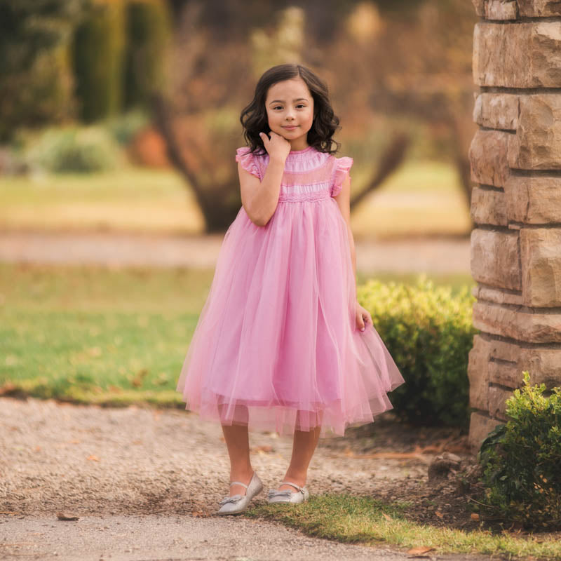Magnolia Pink Lavender Ruffle & Tulle Smock Dress - Just Couture