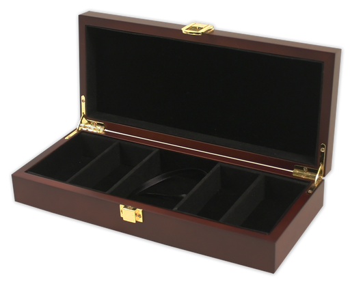 Wood mahoganny poker chips case with room for 100 chips