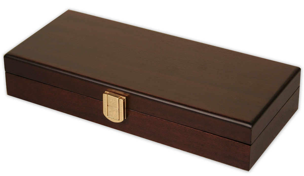Mahogany wood finish poker chips case with a 100 chip capacity
