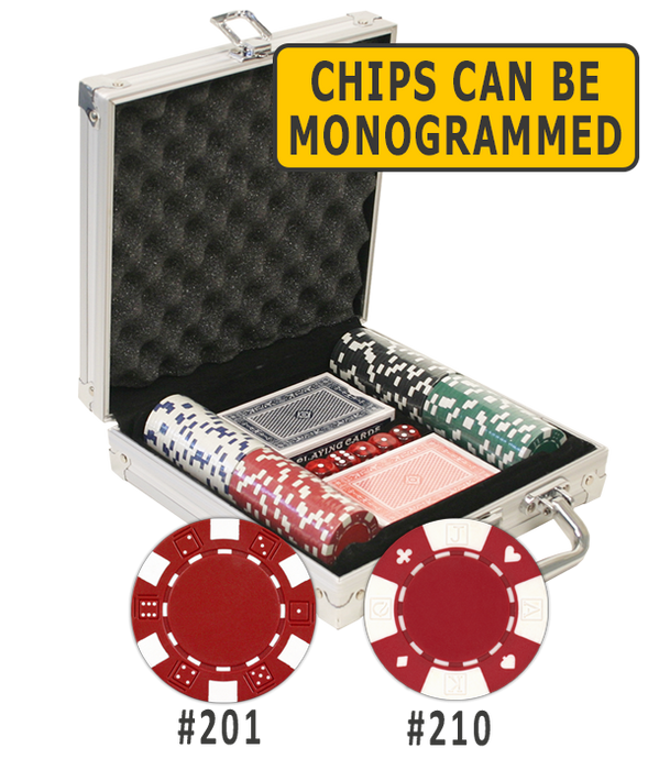 Aluminum poker chips set with 100 chips