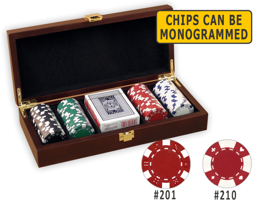 Poker chips set with 100 poker chips in a wood chips case