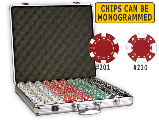 Aluminum poker chips case with 1000 11.5 gram poker chips
