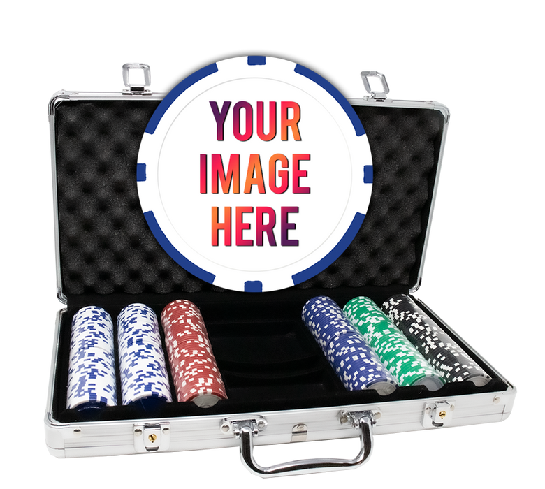 Custom poker chips with 300 poker chips in an aluminum case - 8 Stripe chips